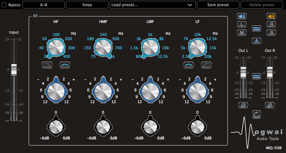 Stereo Channel View of the MEQ-550B Plugin