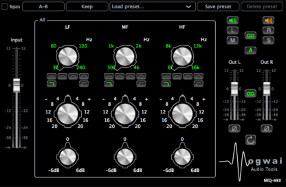 Stereo Channel View of the MEQ-MKII Plugin
