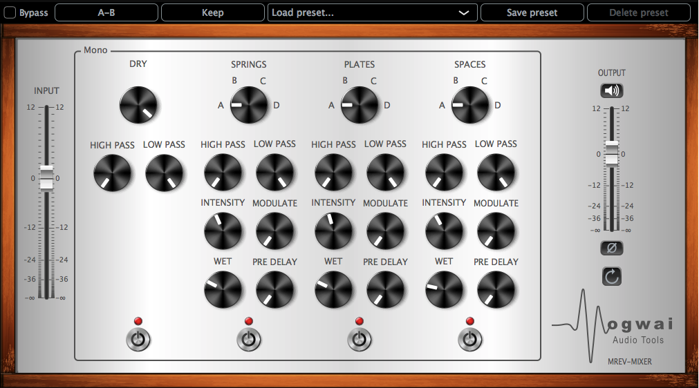 Mono Channel View of the MREV-MIXER Plugin