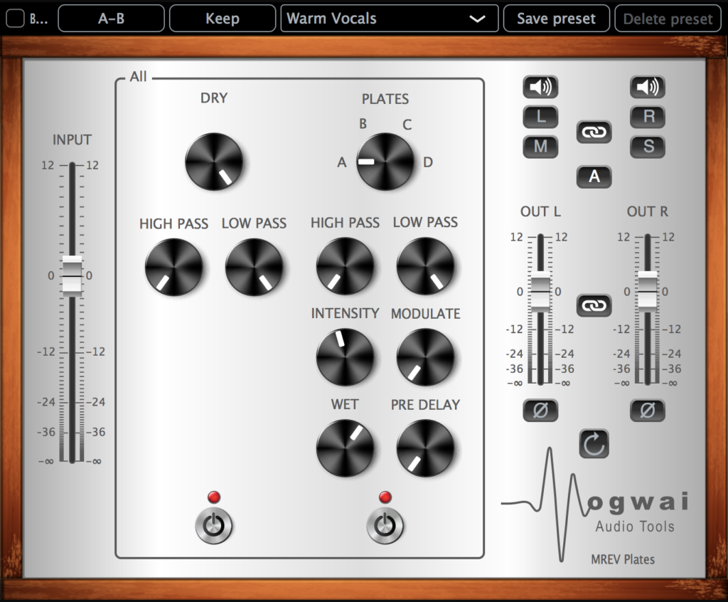Stereo Channel View of MREV-PLATES Plugin