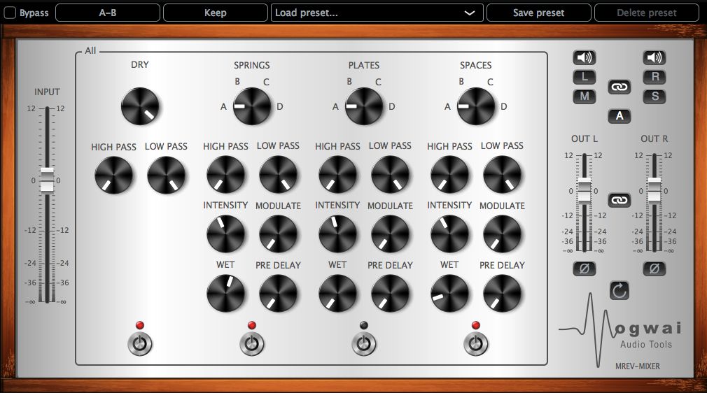 Stereo Channel View of the MREV-MIXER Plugin